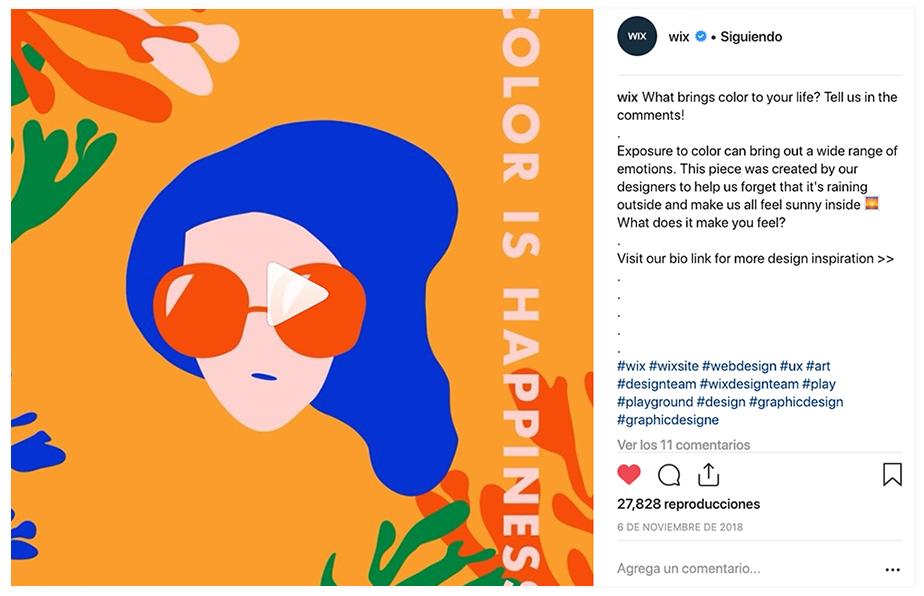 Ejemplo de publicación en Insstagram