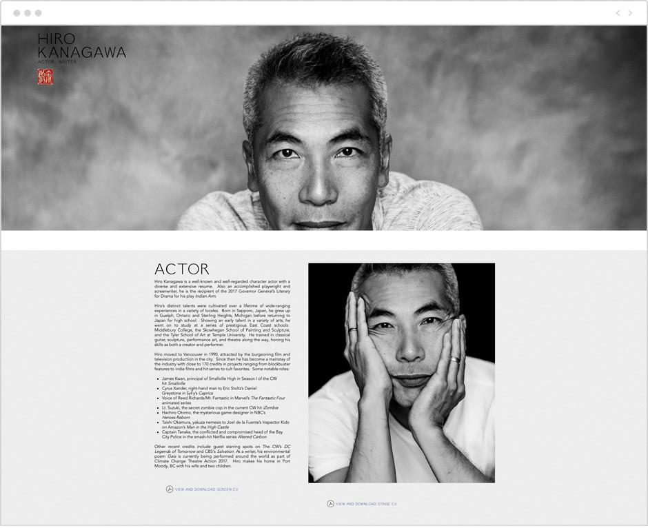 Actor website by Hiro Kanagawa