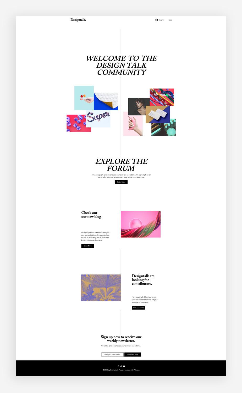 Blog Template von Wix für einen Kunst Blog
