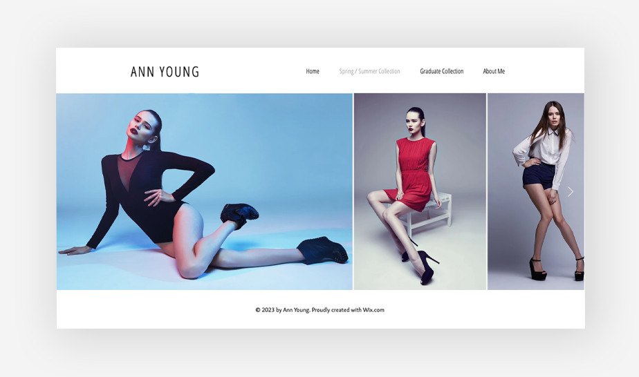 пример фото галереи для модельного сайта портфолио