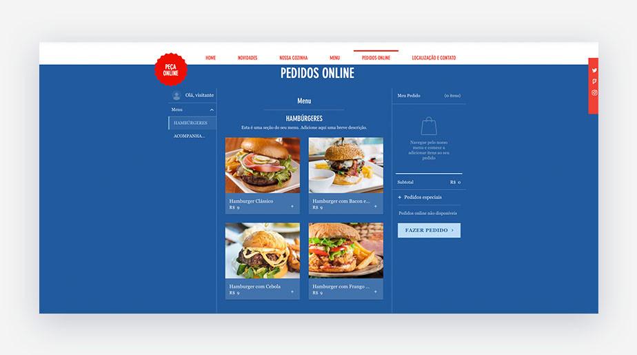 Exemplo de página de widget de pedidos online de um template de hamburgueria do Wix