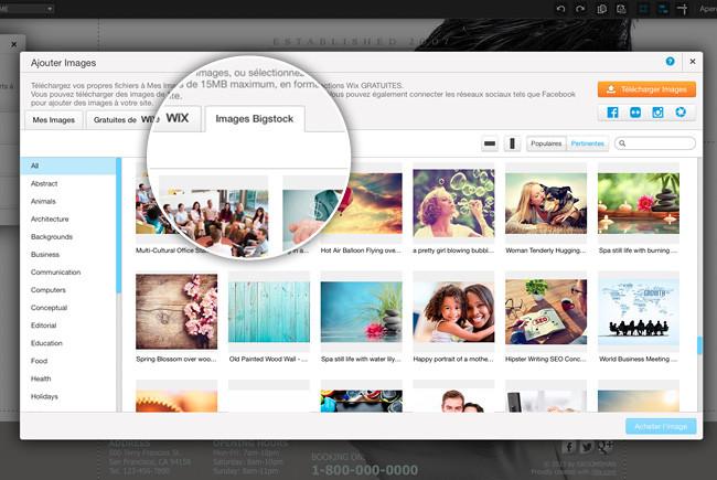 Ajouter une image Bigstock sur Wix