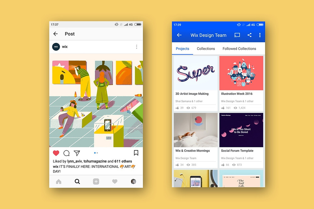 Wix on Instagram and Behance