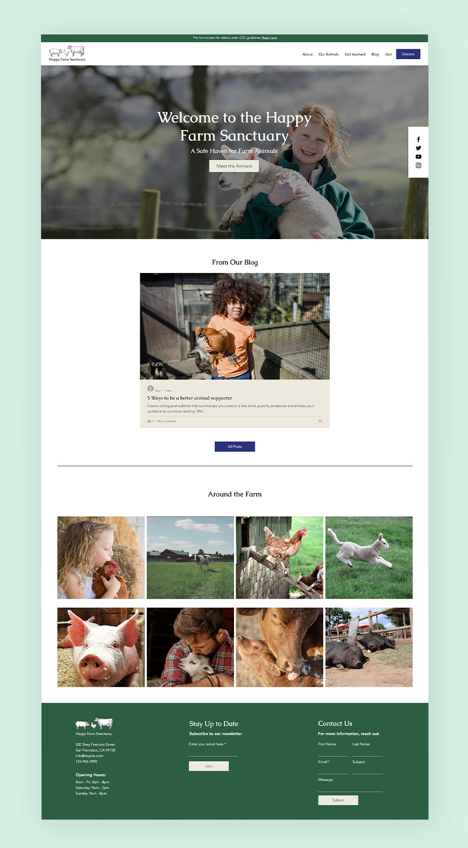 아이들과 동물이 행복한 웃음을 짓는 비영리 단체 웹사이트 메인 이미지