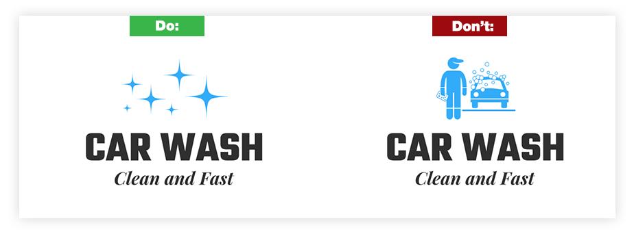 Ein Beispiel für ein gutes Logo und ein schlechtes Logo zum Thema Icons und Symbole