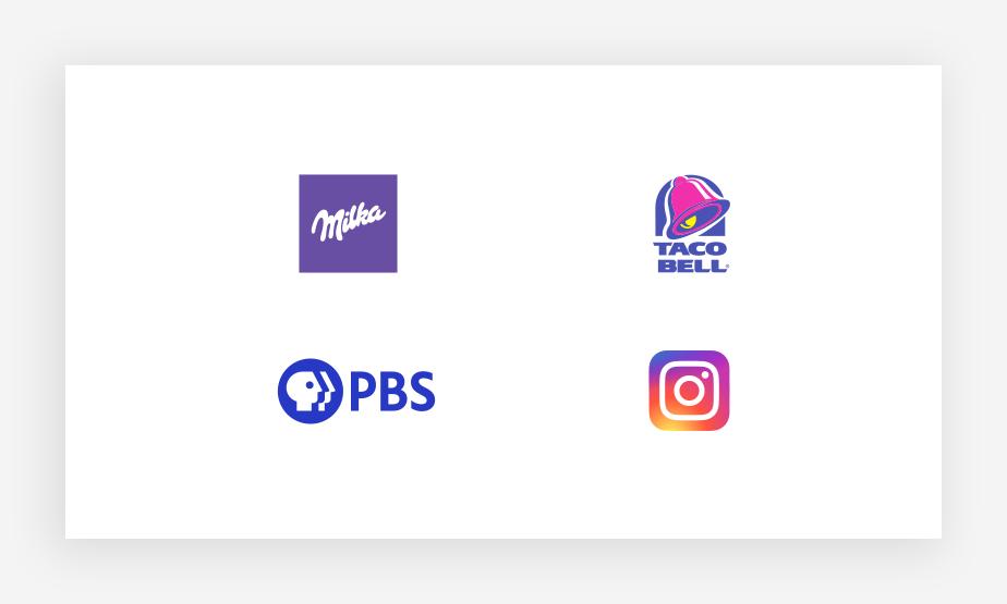 Voorbeelden van beroemde paarse logokleuren
