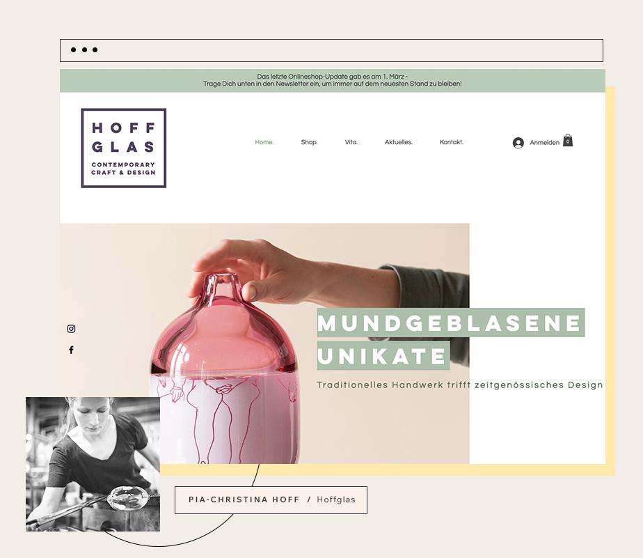 Bild der Website HOFF GLAS mit Gründerin Pia-Christina Hoff
