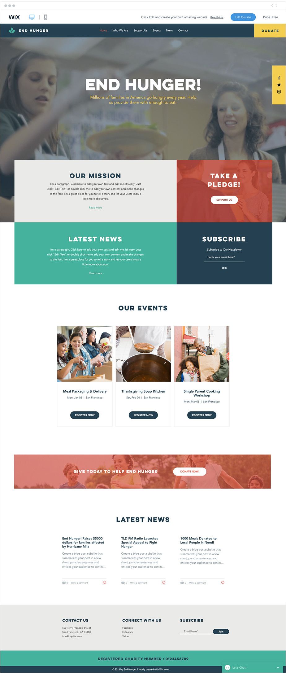 Food Charity free nonprofit website template by Wix