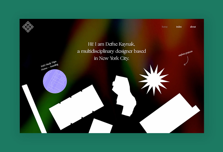 Exemplo de tendências de web design em 2021: formas e desenhos abstratos