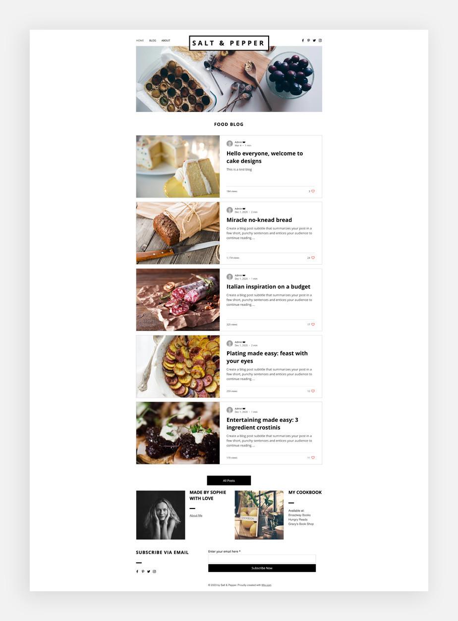 음식 블로그 템플릿에 보여지는 맛깔스런 음식 사진들