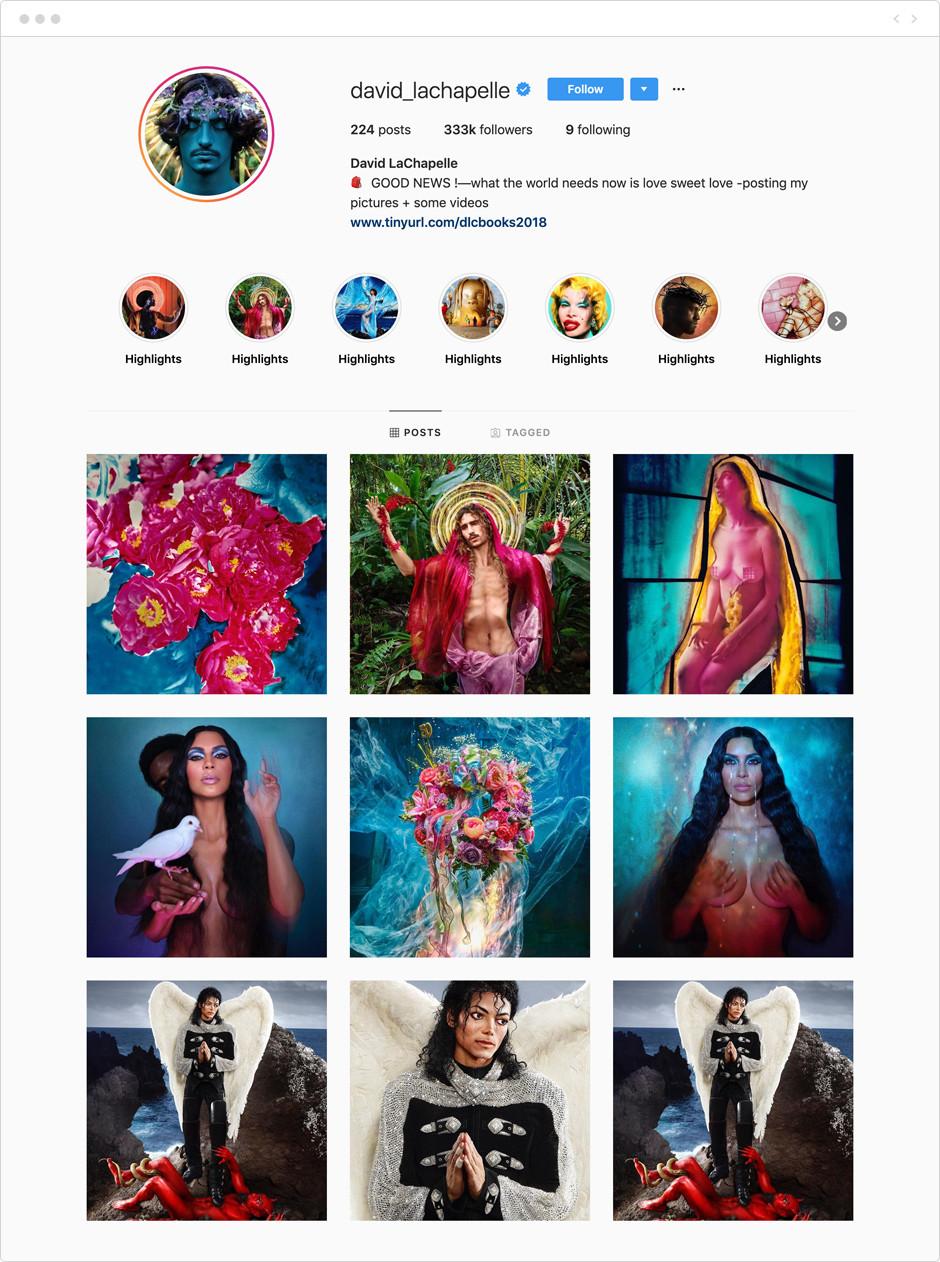 David LaChapelle - Photographes à suivre sur Instagram