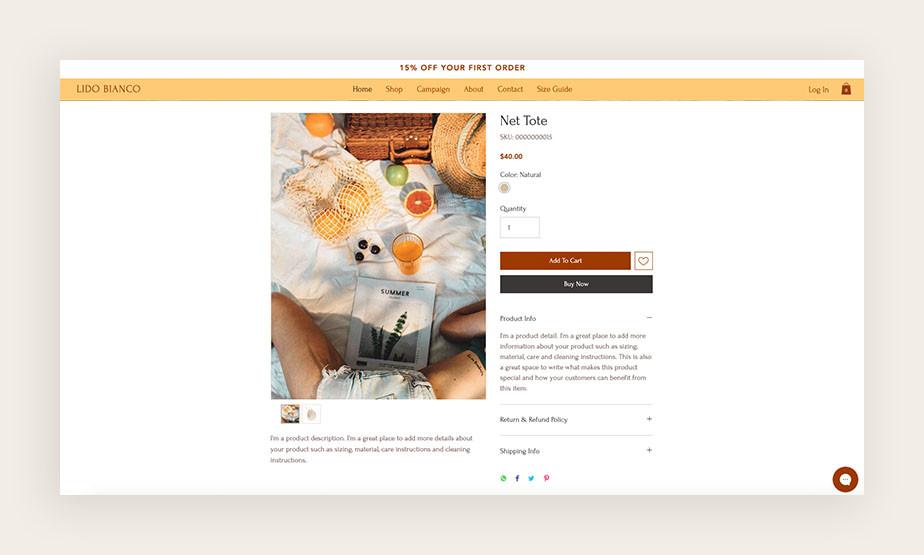 Screenshot einer Produktseite