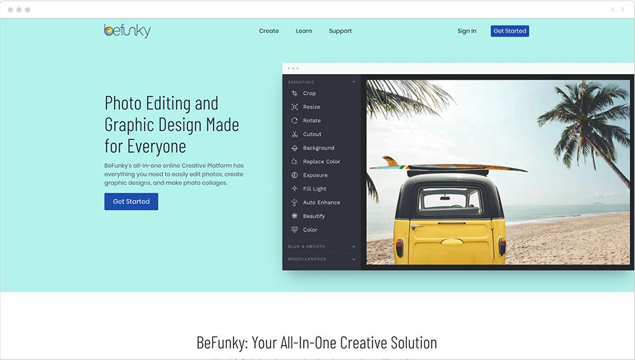 Panel de edición de BeFunky