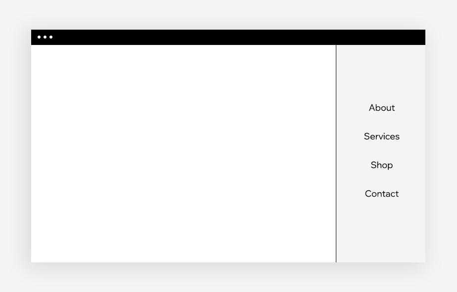 webdesign zijbalkmenu voorbeeld