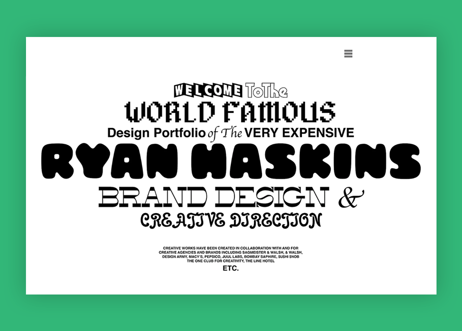 Sito portfolio di Ryan Haskins