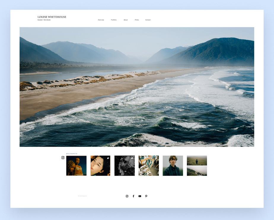 Screenshot da página inicial do site de portfolio de fotografia da fotógrafa Louise Amelie Whitehouse