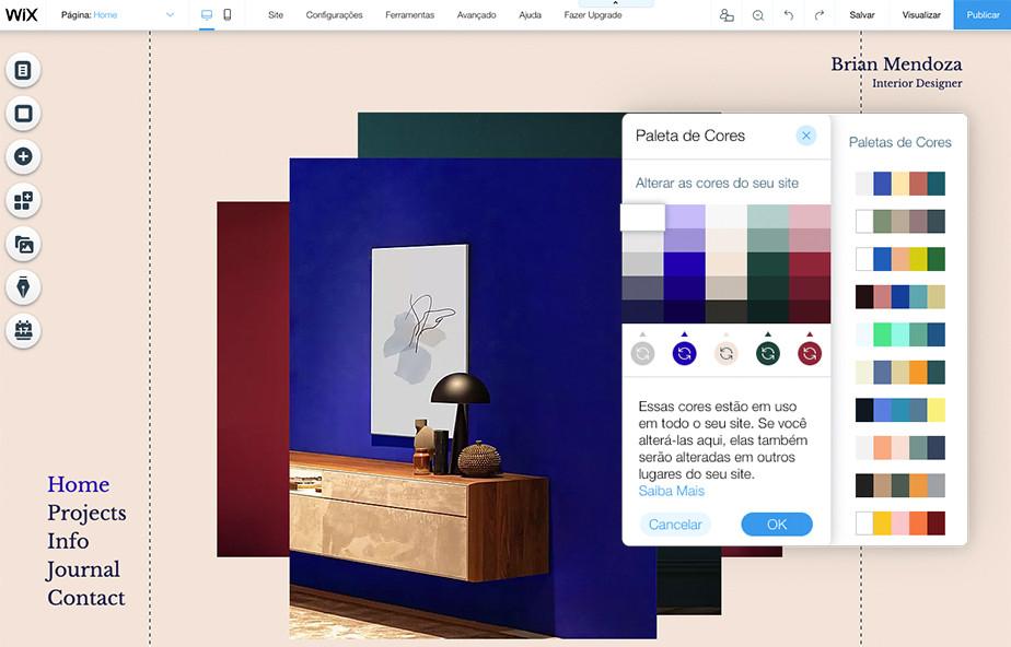 Esquemas de cores do site de um site - Editor Wix