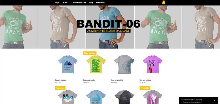 Template de site para loja de roupas