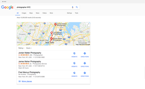 Firma wyświetlana w wynikach wyszukiwania na mapie Google