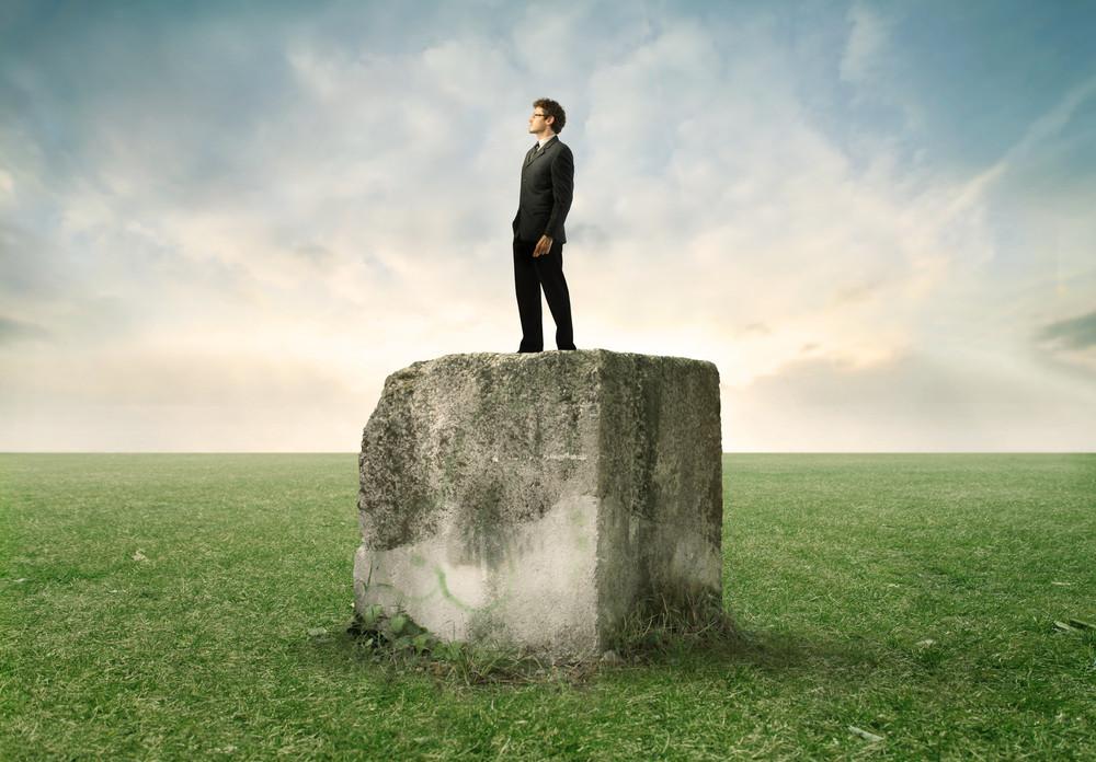 Hombre de traje parado sobre una piedra en un amplio parque verde