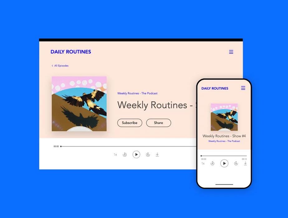 Exemplos da versão desktop e mobile de um podcast executado no Player de Podcast Wix