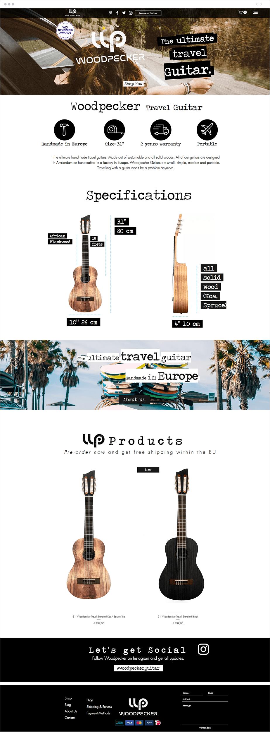 Site internet de Woodpecker Guitar