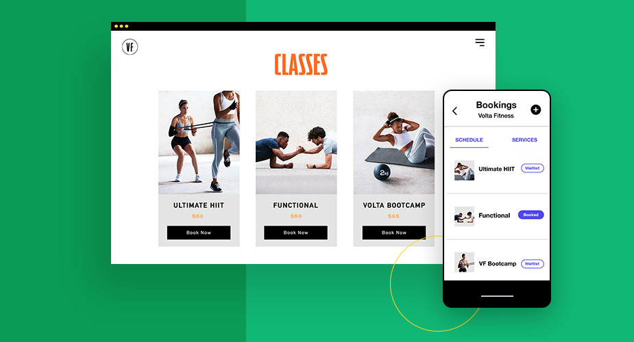 Voorbeelden van sport klasjes op desktop en mobiel