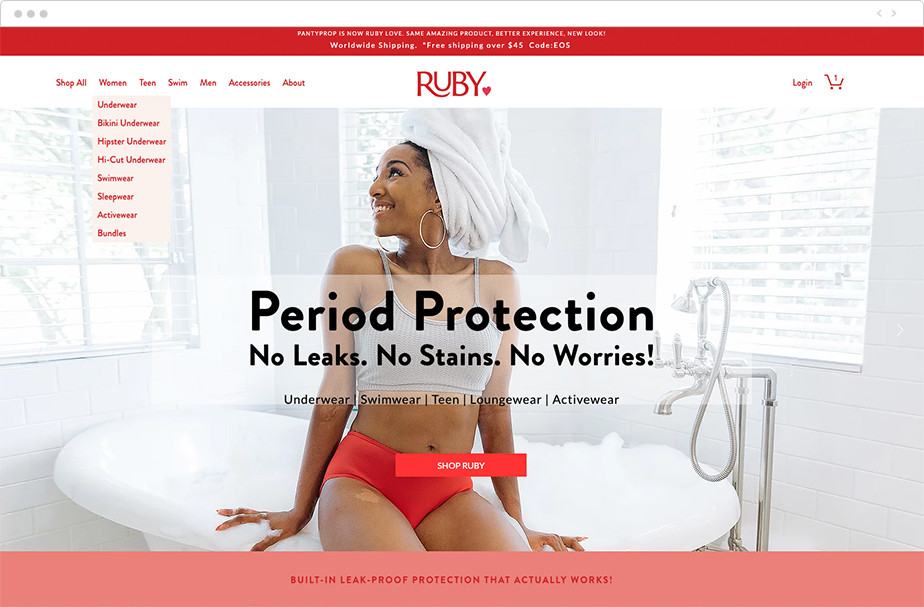 Menu di navigazione a discesa del negozio ecommerce Ruby Love