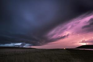 storm an lighting at sunset