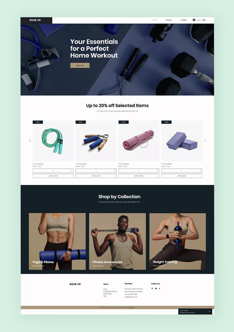 홈트레이닝에 특화된 스포츠 웹사이트의 쇼핑 페이지