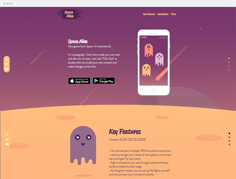 Template Wix Aplicativo de Jogos