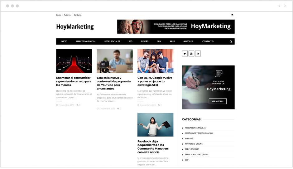 Página de inicio del BLog Hoy Marketing