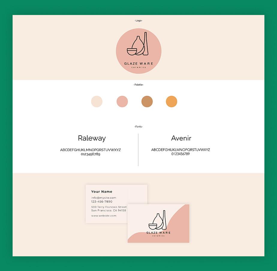 Merk identity grafische voorbeelden van consistente kleuren en stijlen