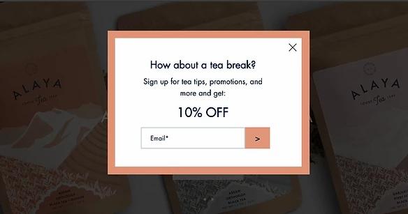 organik çay e-ticaret sitesi etkileşim kutusu
