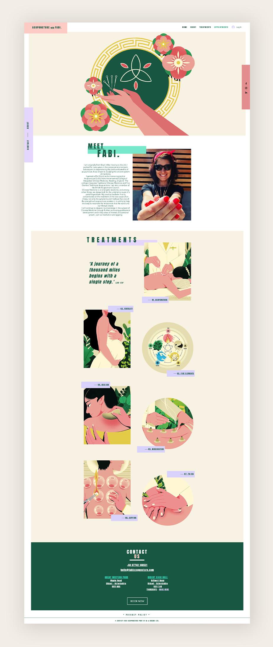 Acupuncture with Fabi als Beispiel für eine Website mit Terminbuchung