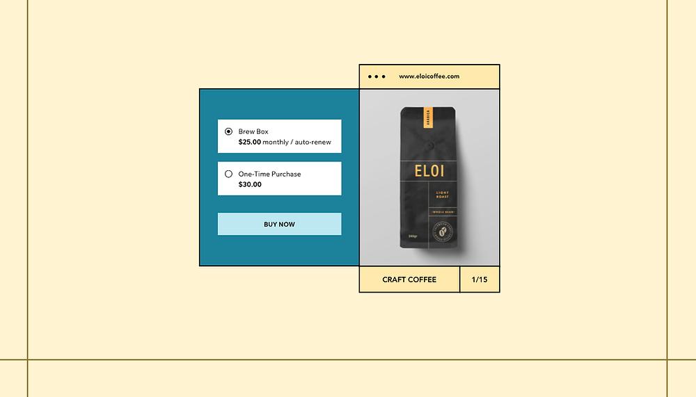 exemple de box mensuelle de café avec option pour un seul achat