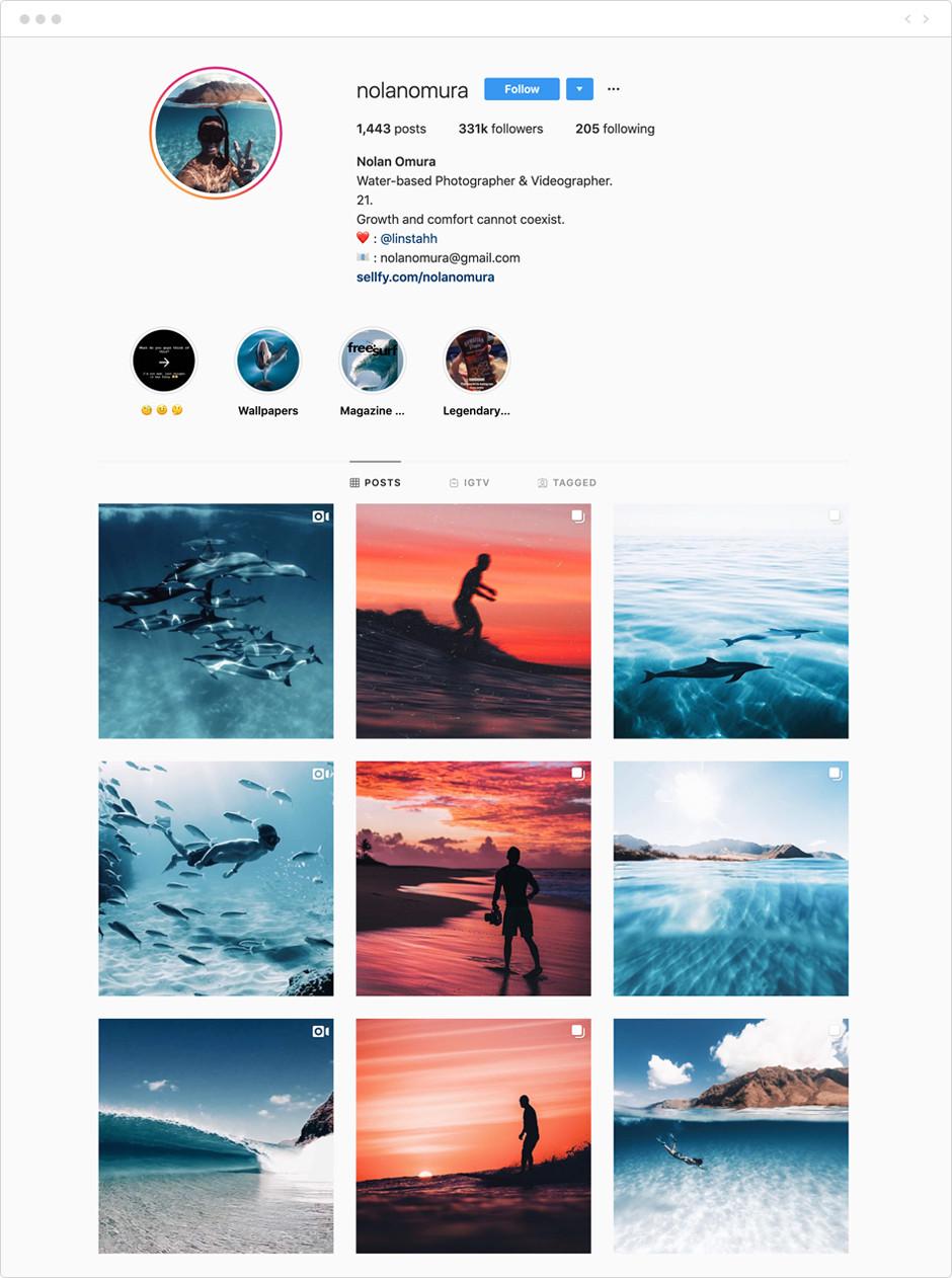 Feed de Instagram de Nolan Omura