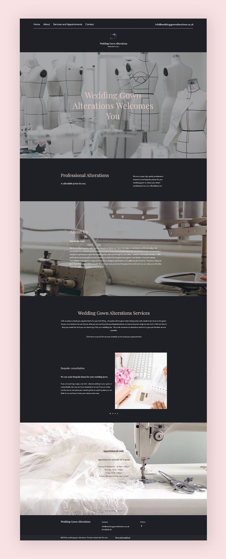 Website von Wedding Gown Alterations als Websitebeispiel mit Terminvereinbarung