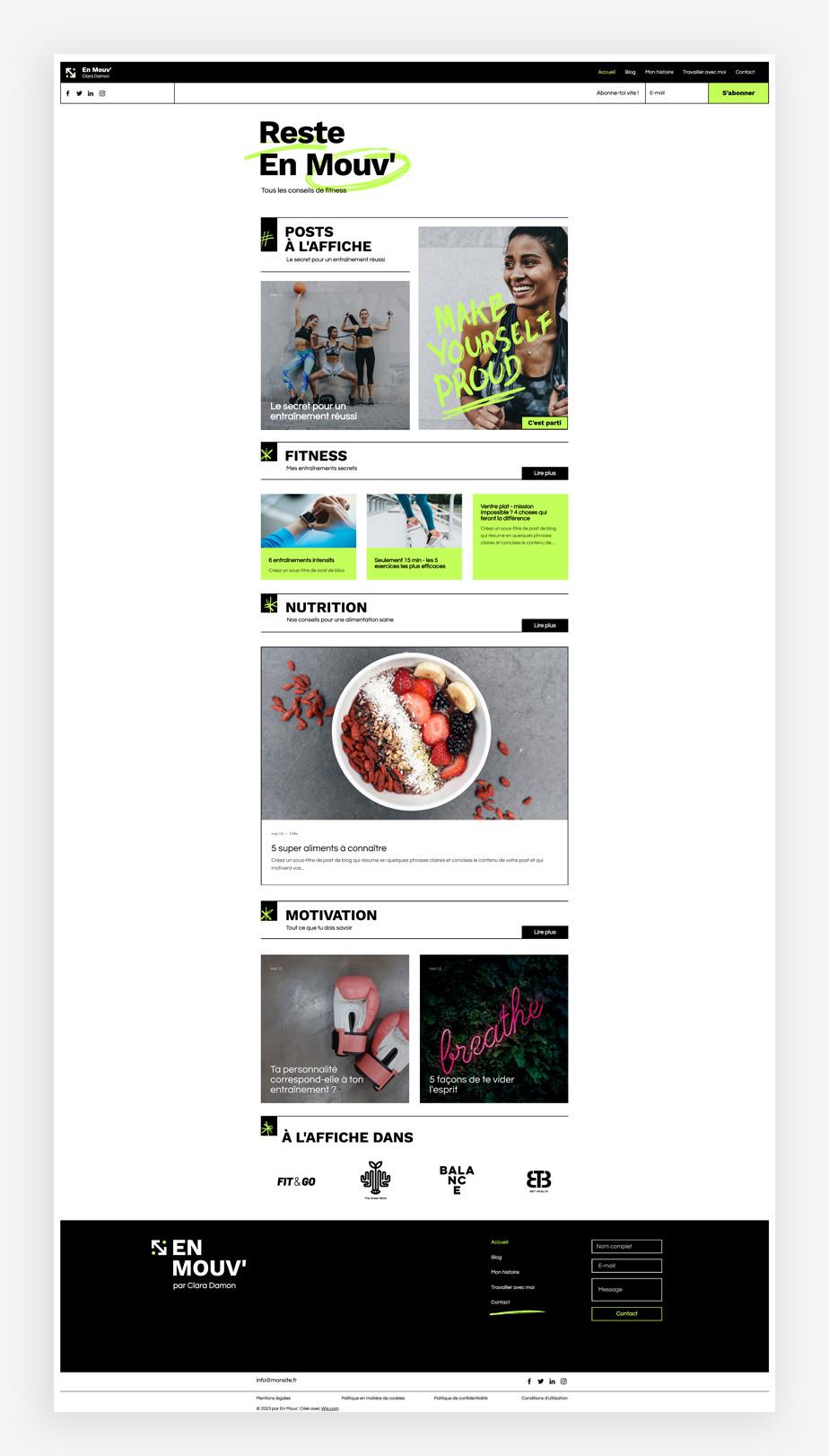 template de blog de fitness