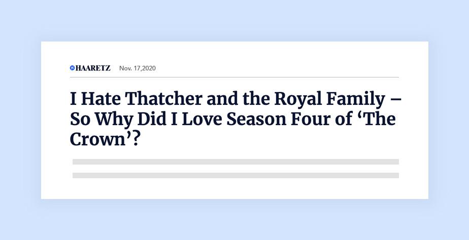 하아레츠 온라인 신문의 헤드라인 '나는 마가렛 대처와 왕실 가족을 싫어한다' 와 같은 궁금증을 유발하는 헤드라인