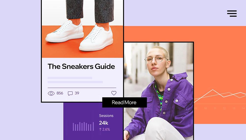 Post di un blog di sneakers, con un paio di sneakers, una persona bionda seduta con una giacca viola e dei dati statistici