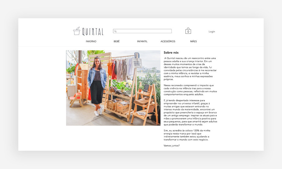 """Página """"Sobre Nós"""" da loja virtual de moda infantil Quintal"""