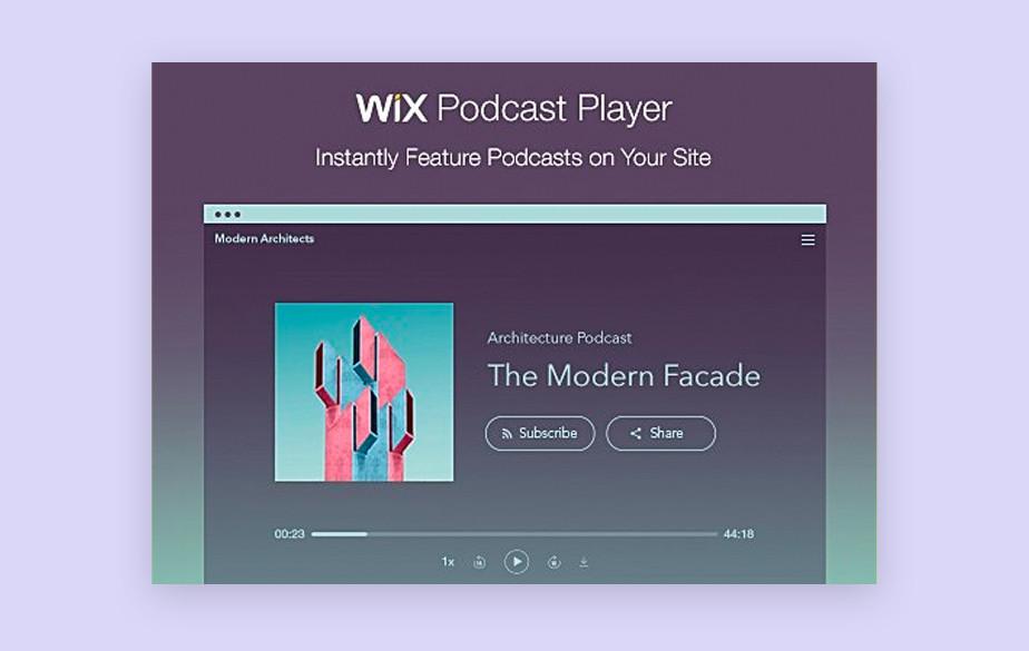 Lista dos 10 melhores sites para hospedar podcasts: Player de Podcast do Wix