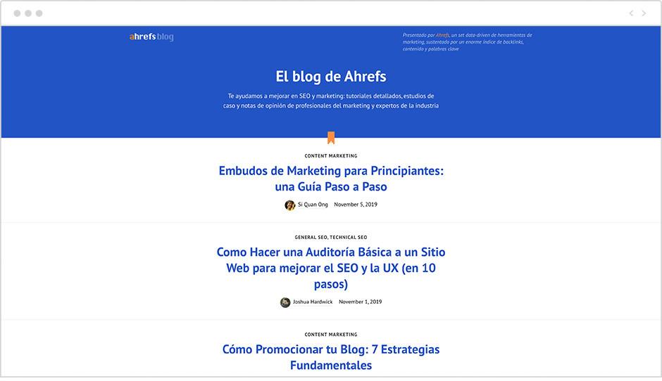 Página de inicio del Blog de Ahrefs en español