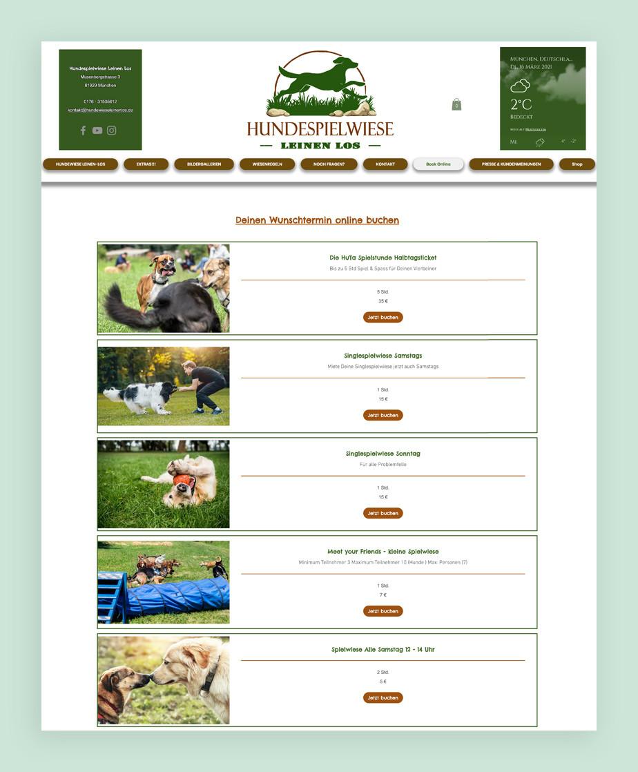 Website einer Hundespielwiese als Beispiel für eine tolle Website mit Buchungsoptionen