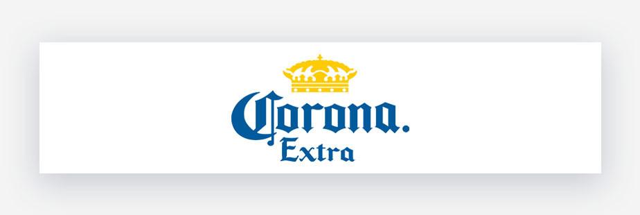 Corona Extra Beer logo con testo blu e corona gialla