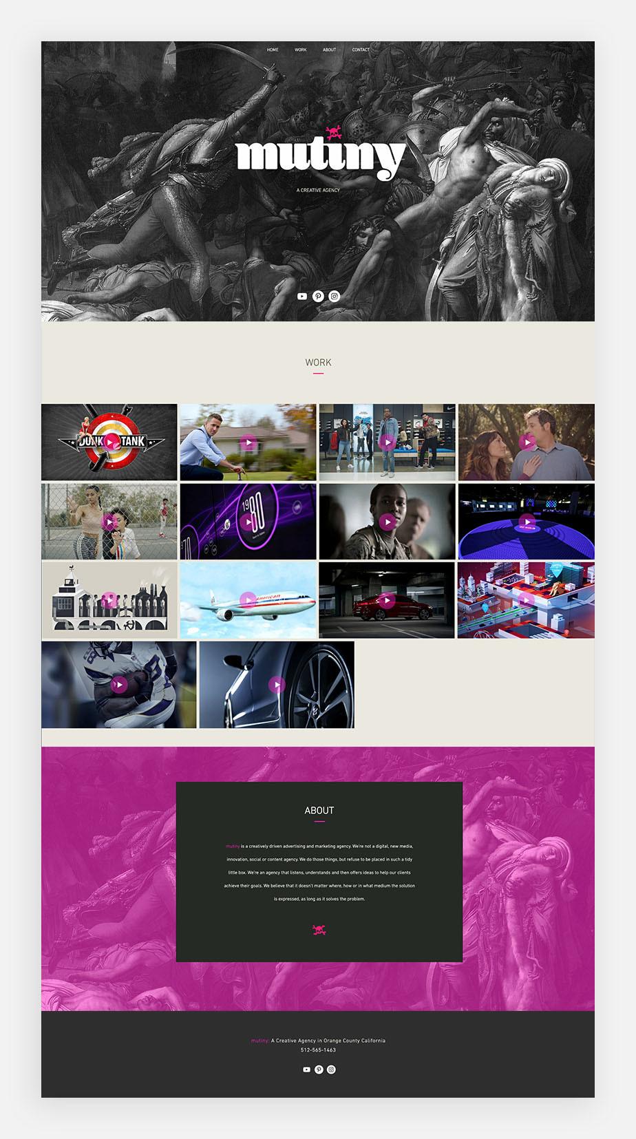 윅스 사용자 뮤티니의 원페이지 웹사이트 이미지