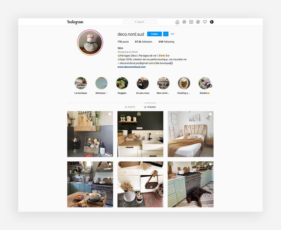 exemple de boutique en ligne sur Instagram