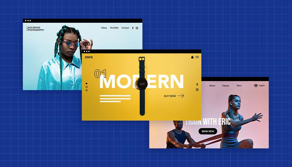 모던함과 스포티함을 겸비한 멋진 웹사이트 메인 화면의 이미지