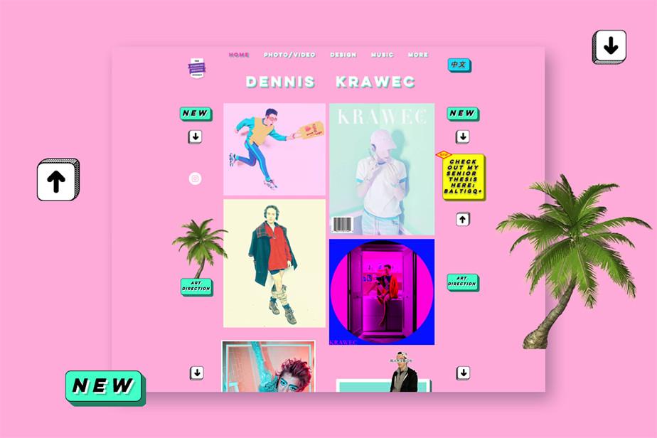 Captura de tela do site de portfólio do artista visual e designer Dennis Krawec. Site de fundo cor de rosa vibrante, com ícones que remetem à pop art e aos anos 200 e uma grande irregular exibindo 4 de suas obras